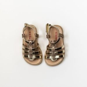 Toddler Girl Sandals in Rose Gold, Gold & Silver